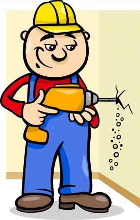 driller: Cartoon Illustration of Man Worker or Workman Drilling with Electric Drill Illustration