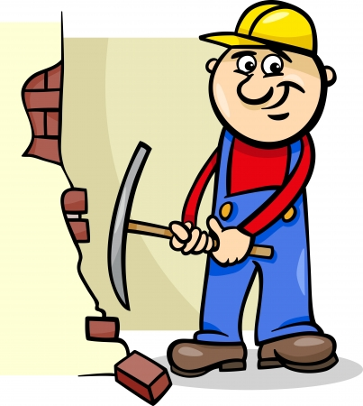 jobs cartoon: Cartoon Illustration of Man Worker or Workman Demolishing Brick Wall with a Pick Axe Illustration
