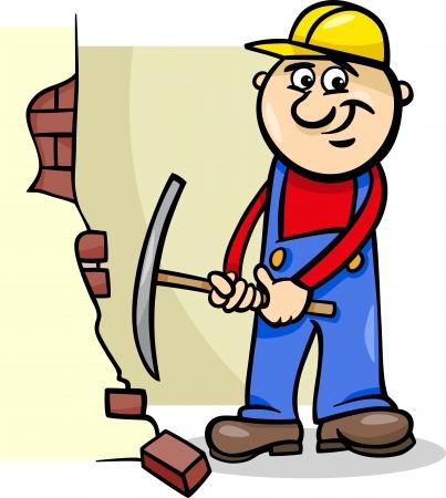 demolishing: Cartoon Illustration of Man Worker or Workman Demolishing Brick Wall with a Pick Axe Illustration