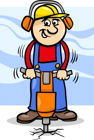 Cartoon Illustration of Man Worker or Workman with Pneumatic Hammer Çizim