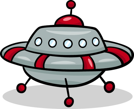 Cartoon Illustration of Funny Flying Saucer or Spaceship Ufo