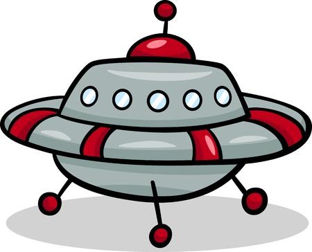 platillo volador: Ilustraci�n de dibujos animados de Flying Saucer Funny or Spaceship Ufo Vectores