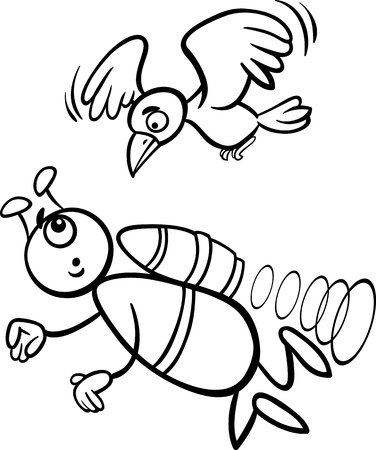 Black and White Cartoon Illustration of Funny Alien or Martian Comic Character Flying with Bird for Coloring Book Vector