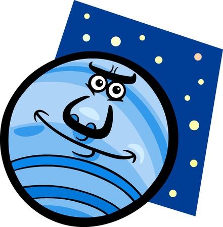neptuno: Ilustración de dibujos animados de Las camisetas divertidas Neptune Planet Comic Character Mascot Vectores