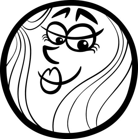 arts system: Black and White Cartoon Illustration of Funny Venus Planet Comic Mascot Character for Children to Coloring Book Illustration