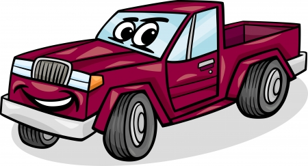 Cartoon Illustration of Funny Pick Up or Pickup Car Vehicle Comic Mascot Character Vector