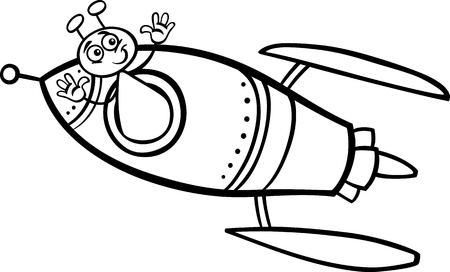 martian: Black and White Cartoon Illustration of Funny Alien or Martian Comic Character in thr Rocket or Spaceship to Coloring Book Illustration