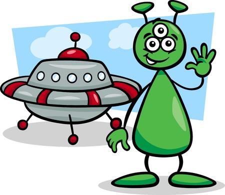platillo volador: Ilustración de dibujos animados de Extranjero Funny or Martian carácter cómico con Ufo o Spaceship