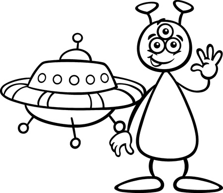extraterrestrial: Black and White Cartoon Illustration of Funny Alien or Martian Comic Character with Ufo or Spaceship for Coloring Book