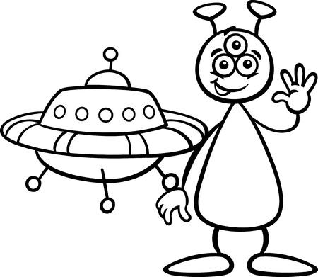 platillo volador: Blanco y negro de dibujos animados de ilustración de divertido extranjero o marciano del carácter cómico con Ufo o nave espacial por Coloring Book