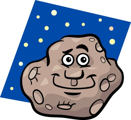 planetoid: Cartoon Illustration of Funny Asteroid or Planetoid Comic Mascot Character Illustration