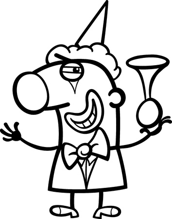 Black and White Cartoon Illustration of Funny Clown Performer with Horn Profession Occupation Coloring Page Vector