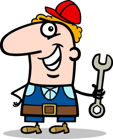 manual worker: Cartoon Illustration of Funny Manual Worker with Wrench Profession Occupation