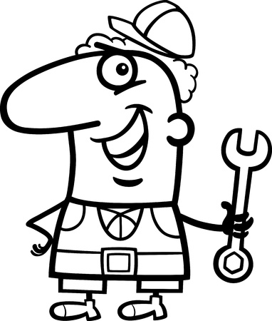 happy employees: Black and White Cartoon Illustration of Funny Manual Worker with Wrench Profession Occupation Coloring Page