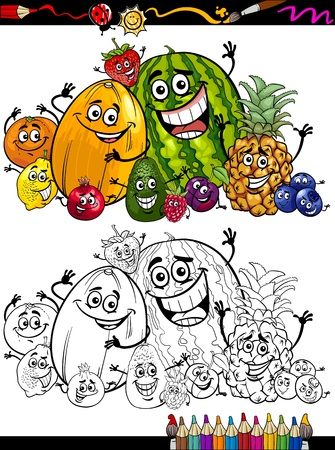 Coloring Book o página de dibujos animados de frutas divertidas Comic Food Characters Grupo de Educación Infantil