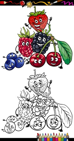 health education: Coloring Book or Page Cartoon Illustration of Funny Berry Fruits Comic Food Characters Group for Children Education