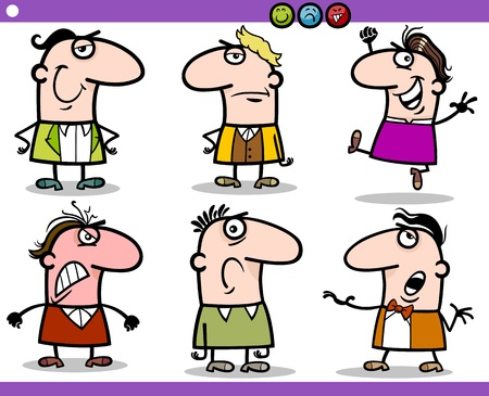 skeptic: Cartoon Illustration of Funny People Emotions or Expressions Characters Set
