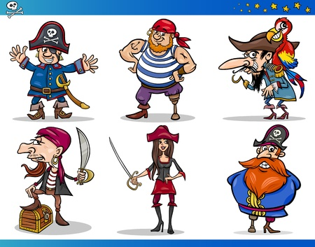 Cartoon Illustrations Set of Fairytale or Fantasy Pirates or Corsairs Mascot Characters Vector