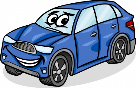 blue smiling: Cartoon Illustration of Funny SUV or Crossover Car Vehicle Comic Mascot Character
