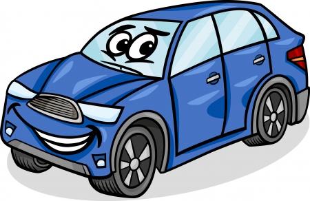 suv: Cartoon Illustration of Funny SUV or Crossover Car Vehicle Comic Mascot Character