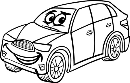 crossover: Black and White Cartoon Illustration of Funny SUV or Crossover Car Vehicle Comic Mascot Character for Children to Coloring Book Illustration