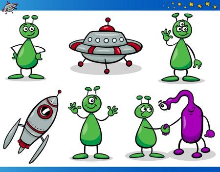 Conjunto de ilustraciones de dibujos animados de personajes de mascota cómica de extraterrestres de fantasía o marcianos
