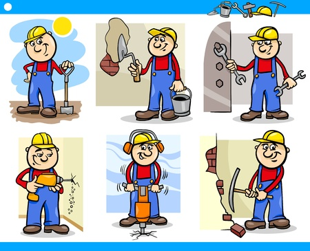 drill bit: Cartoon Illustration of Funny Manual Workers or Workmen at Work Characters Set