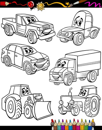 coloring book pages: Coloring Book or Page Cartoon Illustration of Black and White Cars or Trucks Vehicles and Machines Comic Characters Set for Children Education Illustration