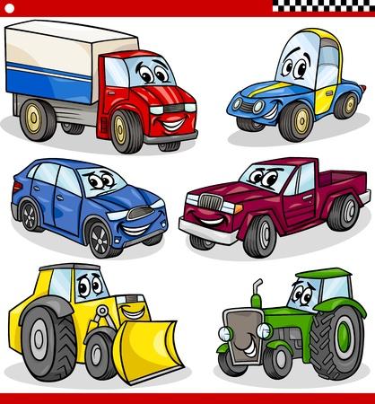 camion caricatura: Ilustración de dibujos animados de coches y camionetas de vehículos y máquinas Personajes Comic Set para niños