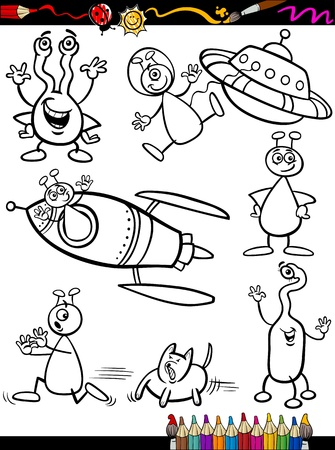 Coloring Book or Page Cartoon Illustration Set of Black and White Fantasy Aliens or Martians Ufo Comic Mascot Characters for Children Vector