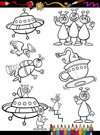 platillo volador: Coloring Book o P�gina Cartoon ilustraci�n Conjunto de Extranjer�a Fantas�a blanco y negro o marcianos Ufo Comic Personajes mascota para los ni�os