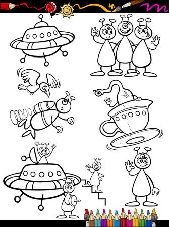flying saucer: Coloring Book or Page Cartoon Illustration Set of Black and White Fantasy Aliens or Martians Ufo Comic Mascot Characters for Children Illustration