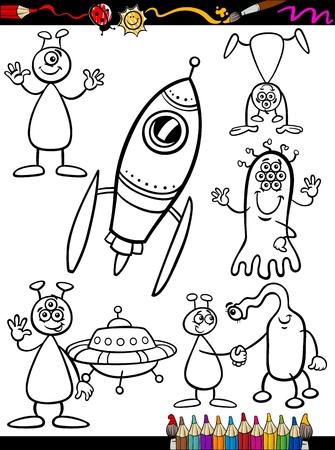 Coloring Book o Página Cartoon ilustración Conjunto de Extranjería Fantasía blanco y negro o marcianos Ufo Comic Personajes mascota para los niños
