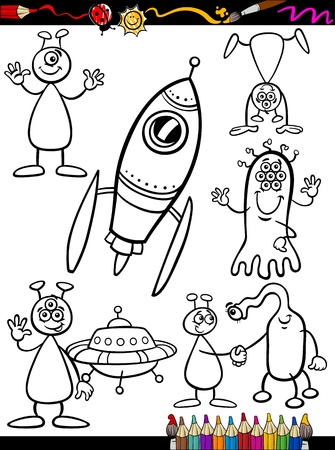 coloring: Coloring Book or Page Cartoon Illustration Set of Black and White Fantasy Aliens or Martians Ufo Comic Mascot Characters for Children Illustration