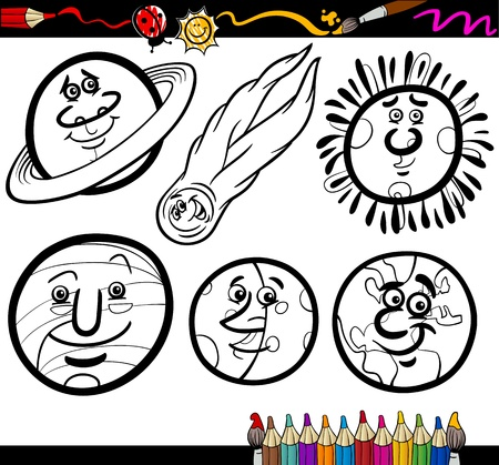 sunlight earth: Coloring Book or Page Cartoon Illustration of Black and White Planets and Orbs Comic Characters Set for Children Education