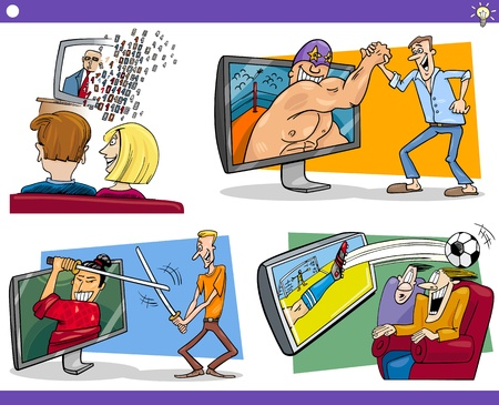 Illustration Set of Humorous Cartoon Concepts or Ideas and Metaphors with Funny Characters Vector