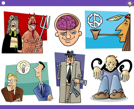 peace pipe: Illustration Set of Humorous Cartoon Concepts or Ideas and Metaphors with Funny Characters