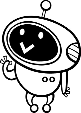 Black and White Cartoon Illustration of Kawaii Style Cute Robot or Droid to Coloring Book Vector