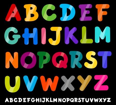 Ilustración de dibujos animados de colores de las mayúsculas del alfabeto para la Educación Infantil