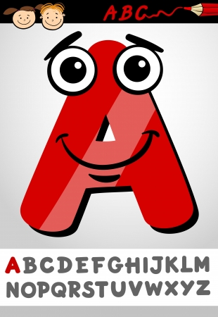 Cartoon Illustration of Cute Capital Letter A from Alphabet for Children Education Vector
