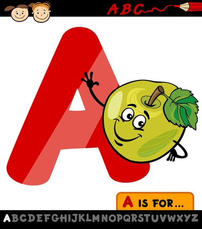 spelling: Cartoon Illustration of Capital Letter A from Alphabet with Apple Fruit for Children Education