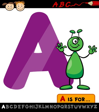 Cartoon Illustration of Capital Letter A from Alphabet with Alien for Children Education Vector