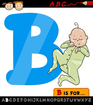 Cartoon Illustration of Capital Letter B from Alphabet with Baby for Children Education Vector