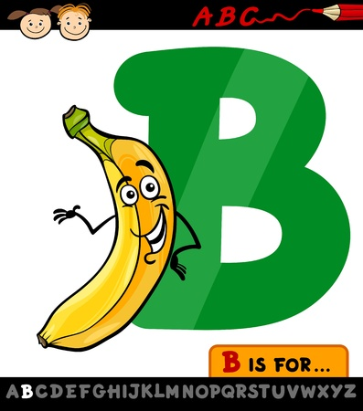 Cartoon Illustration of Capital Letter B from Alphabet with Banana Fruit for Children Education Vector