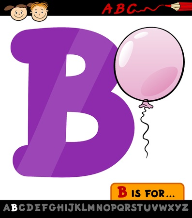 letter b: Cartoon Illustration of Capital Letter B from Alphabet with Balloon for Children Education