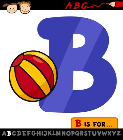 Cartoon Illustration of Capital Letter B from Alphabet with Ball for Children Education Vector