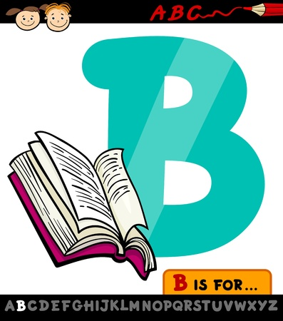 Cartoon Illustration of Capital Letter B from Alphabet with Book for Children Education Vector