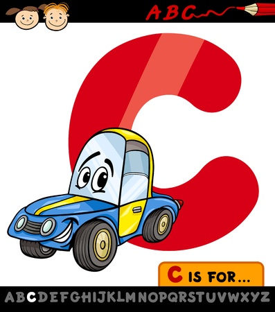 Cartoon Illustration of Capital Letter C from Alphabet with Car for Children Education Vector