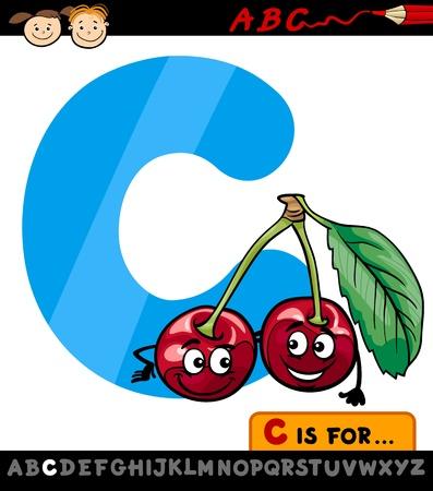 Cartoon Illustration of Capital Letter C from Alphabet with Cherry Fruit for Children Education Illustration