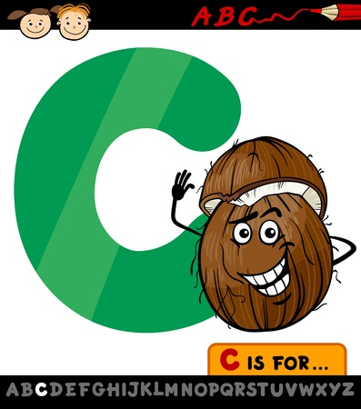 Cartoon Illustration of Capital Letter C from Alphabet with Coconut for Children Education Vector